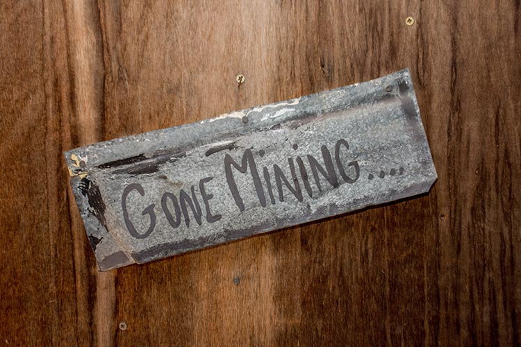 gone crypto mining sign on door for proof of work explanation